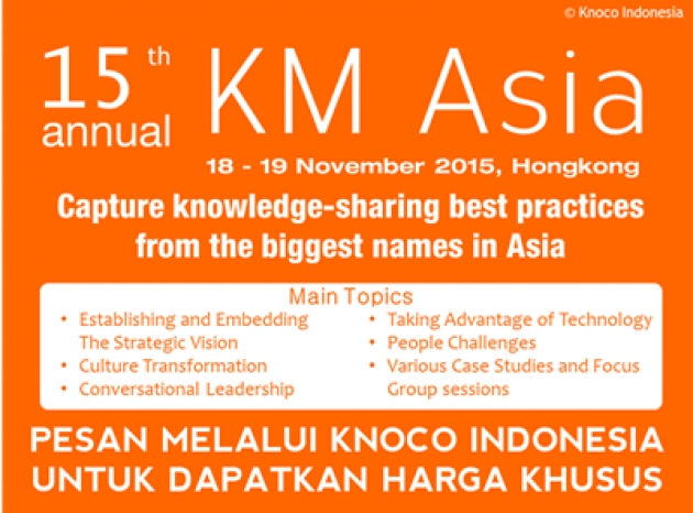 KM Asia 2015: Capture knowledge sharing best practice from the biggest names in Asia