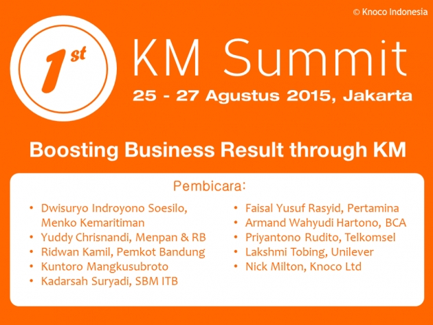 KM Summit Indonesia 2015: Boosting Business Result through KM